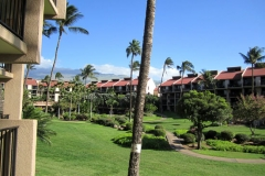 Lanai view to Mt. Haleakala and inner courtyard