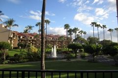 Lanai view to the gardens, ponds and fountains