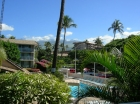 Behr's Escape Maui Condo with Beautiful View from our Lanai looking over the pool and gardens to Mt Haleakala