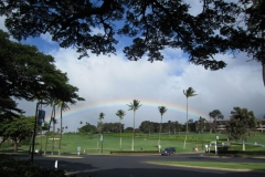 Rainbow at Lahaina golf course seen from Whalers Village