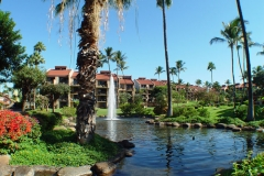 Ponds and three fountains located at the entrance to our resort Kamaole Sands