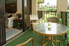 Condo Lanai with view to Mt Haleakala overlooking the gardens, ponds and fountains