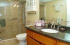 Remodeled bathroom with all new shower and vanity with granite top