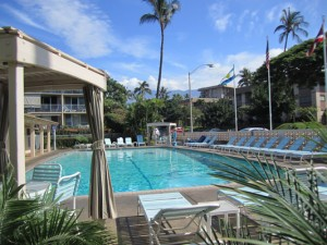 A large 30 x 60 pool at Kihei Kai Nana with a view to Mt Haleakala